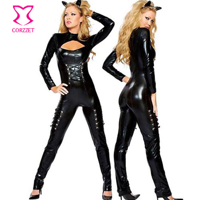 Lace Up And Back Zipper Black PVC Catsuit Erotic Sexy Bodysuit Leather  Jumpsuit Adult Catwoman Costume Cat Costumes For Women f2b70b347c29