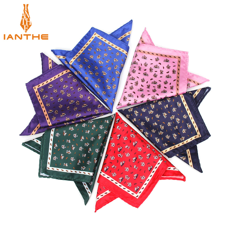 Men's Handkerchief Vintage Animal Print Pocket Square Polyester Silk Soft Hankies Wedding Party Business Chest Towel Hanky