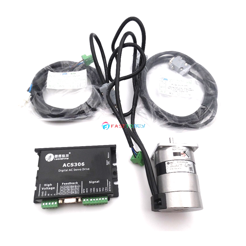 Original New 50W Leadshine Brushless DC Servo Motor Drive Kit BLM57050-1000+ACS306 3A 24VDC 0.16NM 3000RPM Pulse Control leadshine blm57050 1000 50w dc servo motor acs606 servo drives ac servo performance