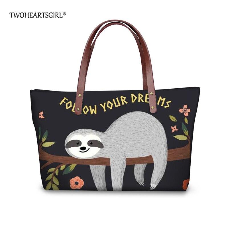 TWOHEARTSGIRL Neoprene Cute Sloth Printed Women Tote Bag Ladies Casual Shoulder Bag Teenager Girls Tote Handbag Female Handbags tote bag