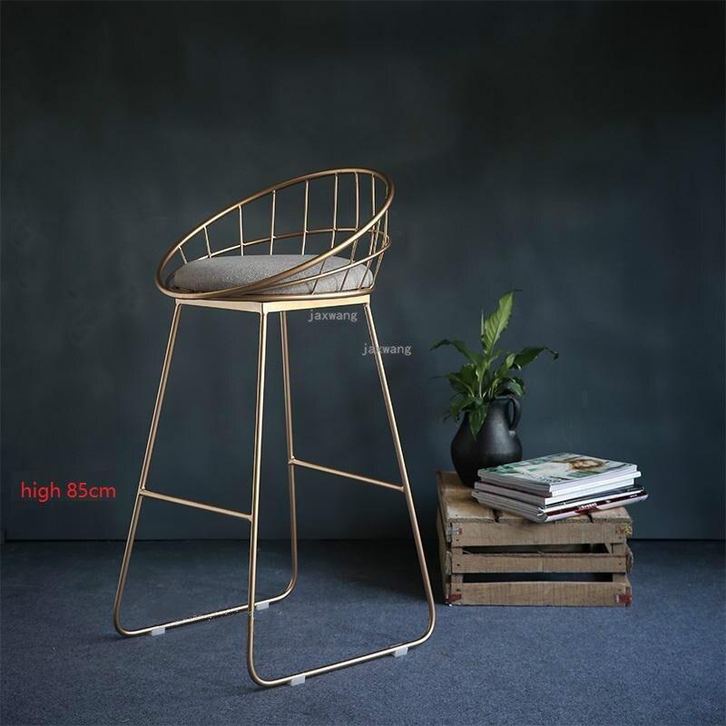 Современный простой барный стул из кованого железа, барный стул, золотой высокий стул, современный обеденный стул, железный стул для отдыха, скандинавский барный стул, трется - Цвет: Height 85CM