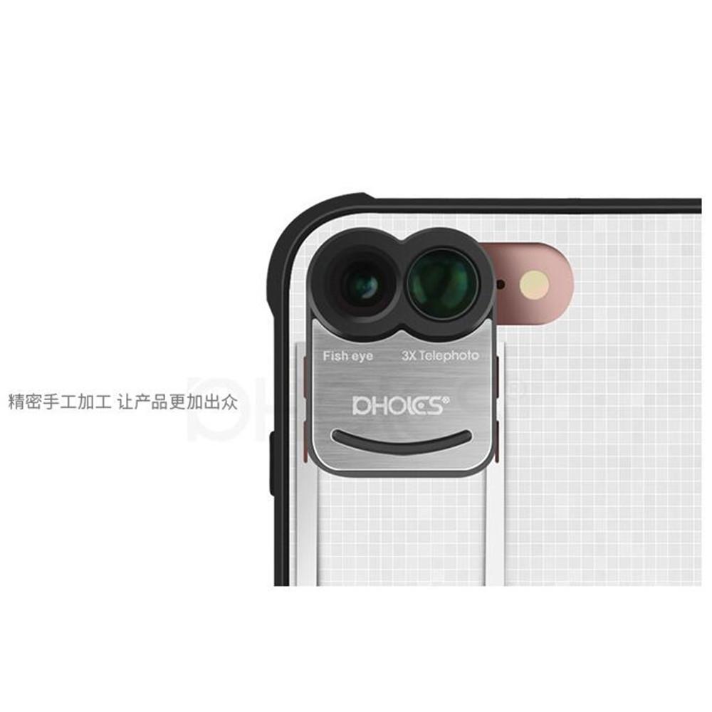 PHOLES 3 in 1 Phone Camera Lens Kit 160 Degree Fisheye Lens + 110 Degree Wide Angle + 10x Macro Lens for iPhone 7plus with Case 4