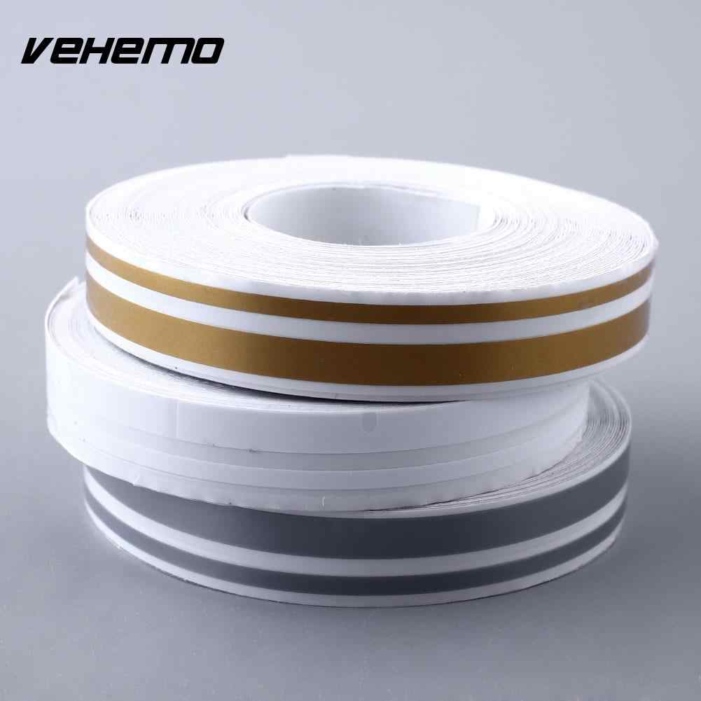 "Vehemo Hot Car 12mm 1/2"" PinStripe Pin Stripe 3 Color Tape Vinyl Sticker Steamline White Gold Silver Double line"
