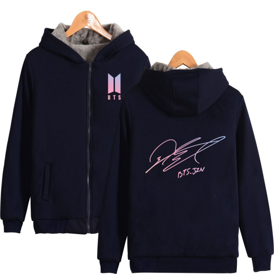 BTS Bangtan Boys K-pop Member Signature Thicker Zipper Hoodie Sweatshirt Jin Suga J-Hope RM Jimin V Jungkook Winter Warm Clothes