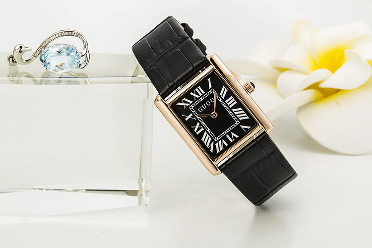 New 2018 Simple Woman Watch GUOU Top Luxury Brand Leather Calendar Japan Quartz Rectangle Watches Super Slim Watches For Lady