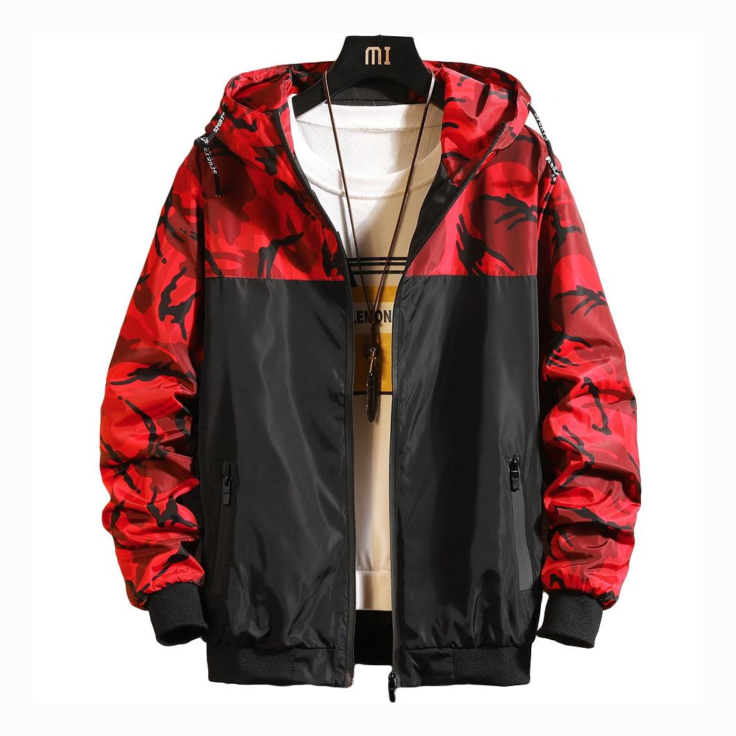 Hooded Jacket Women 2019 Spring Causal Camouflage Women Basic Jackets Windbreaker Zipper Lightweight Jackets Stripe Famale Coats