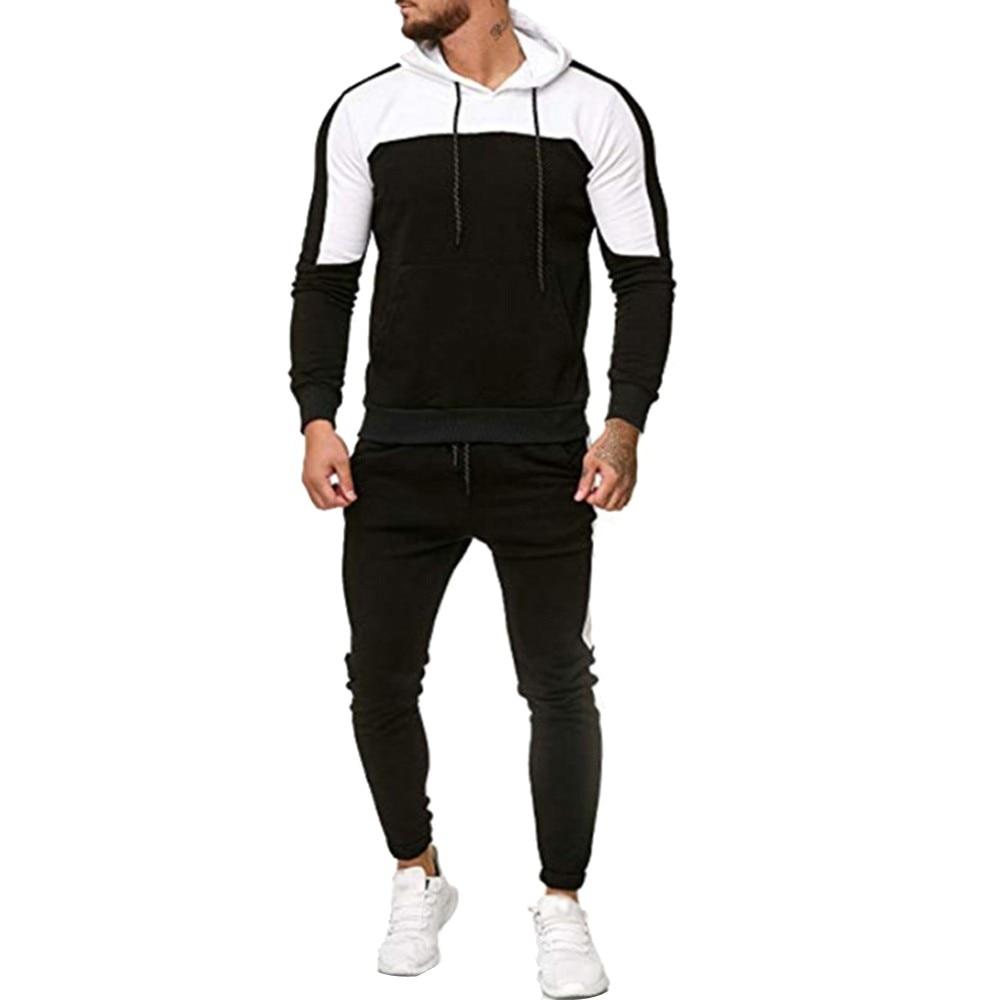 Men's Autumn Patchwork Sweatshirt Tops Pants Sets Sports Suit Tracksuit Men's Sportswear Autumn Patchwork Zipper Homme L18#