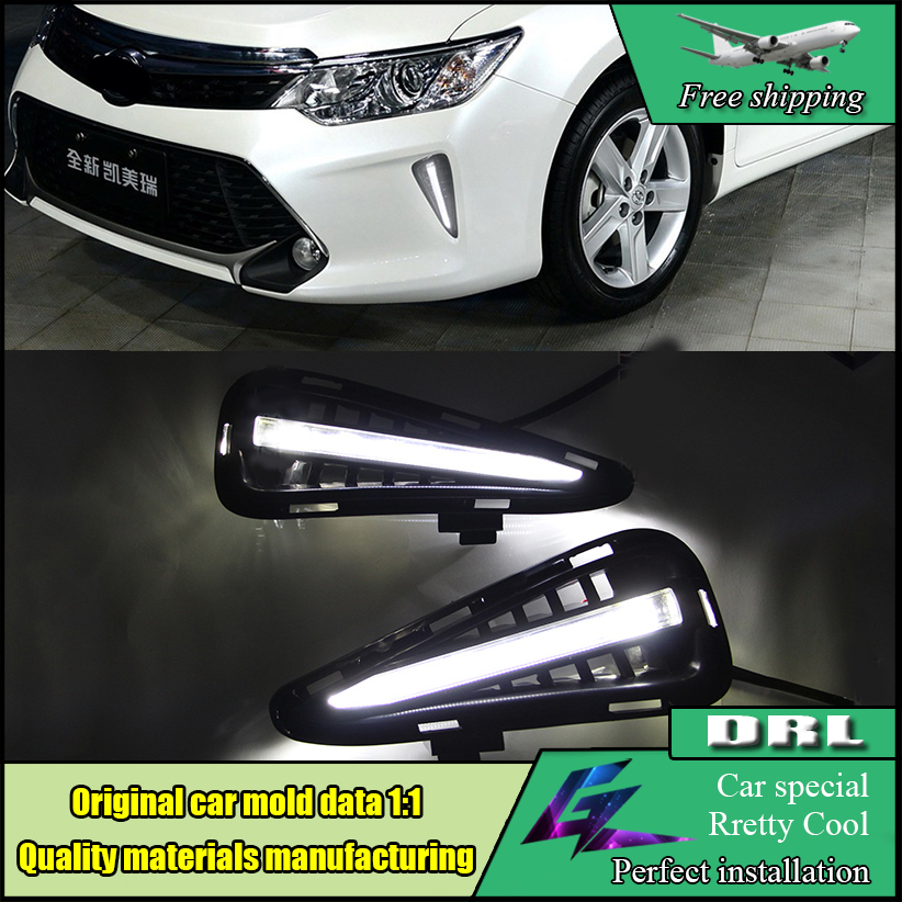 Car Styling LED DRL Daytime Running Light For Toyota Camry V55 2015 2016 Fog Lamp Frame Fog Light White daylight car styling 2015 2017 camry daytime