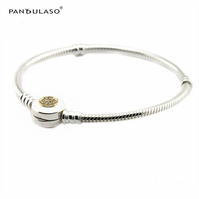 Clear CZ Signature Logo Golden Clasp Silver Bracelets for Women & Men Fashion Silver 925 Jewelry DIY Snake Chain Charms Bracelet