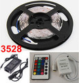 LED strip 5m SMD3528 60leds/m RGB led strip lights for party decoration+24keys IR controller +12v power adapter Free shipping