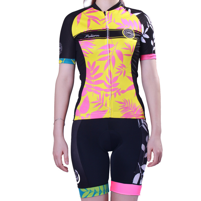 Womens Leaves Pattern Cycling Jersey Sets Elastic Slim Short Sleeve MTB Bike/Bicycle Wear Breathable Quick-Dry Cycling Clothing