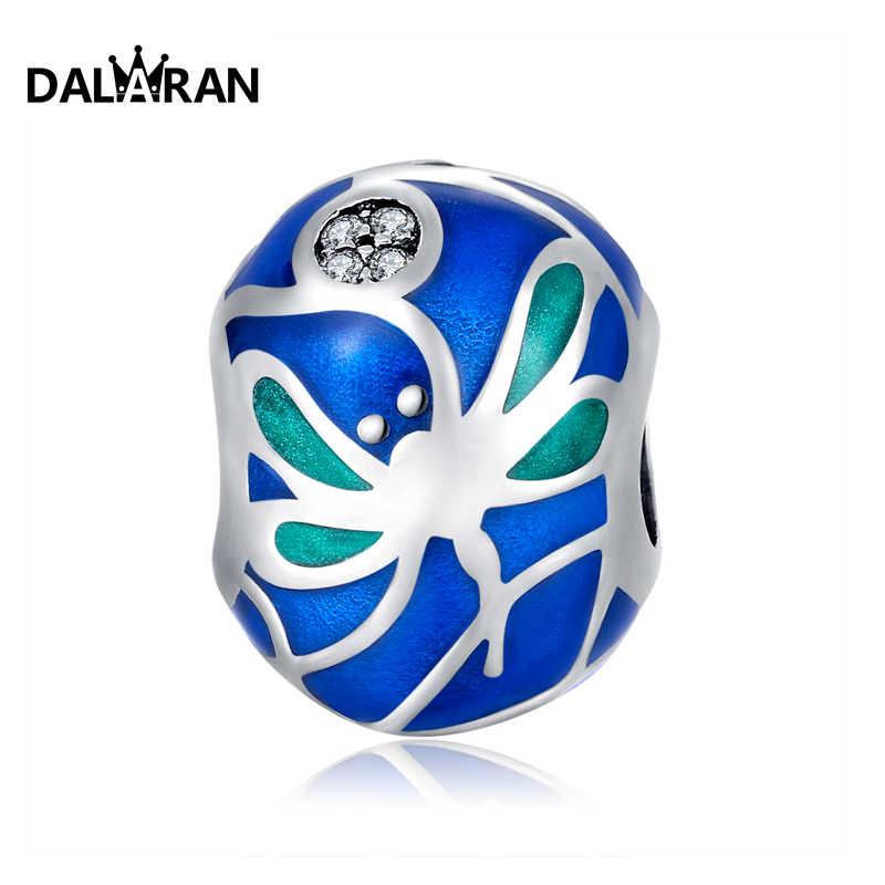 DALARAN 925 Sterling Silver Charm ลูกปัดสีฟ้าเหมาะสำหรับสร้อยข้อมือผู้หญิงจี้และสร้อยข้อมือ DIY เครื่องประดับของขวัญแฟน