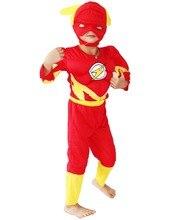 S-XXL 3-7ปีที่ผ่านมาพรรคเด็กการ์ตูนมาร์เวลแฟลช/แบร์รี่อัลเลนกล้ามเนื้อฮาโลวีนเครื่องแต่งกายเด็กแฟลชเด็กม้วนเล่นเสื้อผ้าขนาด: