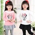2016 Весна марка девочки футболка Хлопок Мода 3D Вышивка детская одежда мультфильм Костюм футболки дети минни