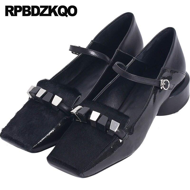 Bajo Tacón Cuero Negro Pie 4 34 Correa Cuadrado Famoso Zapatos Grueso Jane De Del Mary Señoras Las Mano Genuino Tamaño Dedo Hecho Tobillo Metal A 2018 wz8Cx