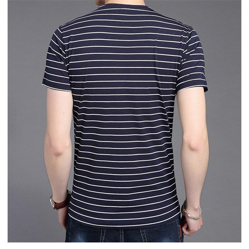 Liseaven New Men V Neck Striped T-shirt Short Sleeve tshirt Fashion Men's tees Clothing 6