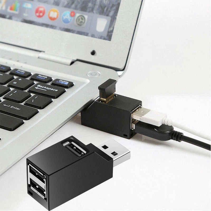 3 порта USB концентратор мини USB 2,0 High Speed концентратор разветвитель коробка для ПК ноутбук U дисковая карта ридер для iPhone 7 8 X мобильный телефон концентратор