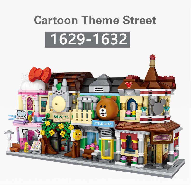 アーキテクチャクリエーターミニストリート店ビルディングブロック書店デザート店ケーキショップ音楽芸術漫画のテーマ BrickHeadz おもちゃ