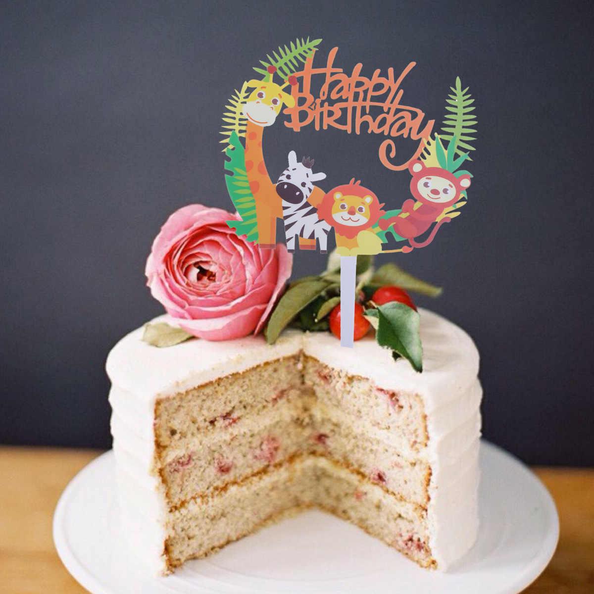 2 Piezas Tema Animal Feliz Cumpleaños Pastel Topper Jirafa