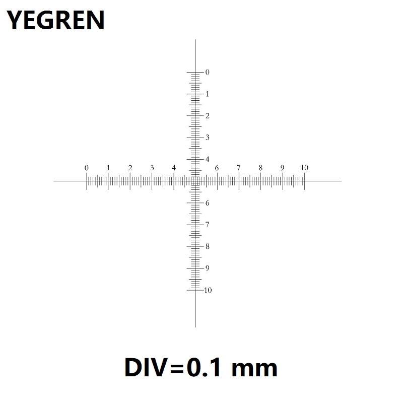 DIV 0.1 millimetri Oculare Micrometro per Microscopio Oculare Calibrazione Reticolo Croce Righello 10x10 Bilancia CAT907 C7 di Misura Bilancia s
