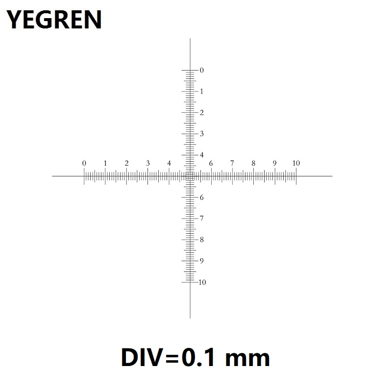 DIV 0.1 Mm Eyepiece Micrometer For Microscope Ocular Calibration Graticule Cross Ruler 10x10 Scale CAT907 C7 Measuring Scales