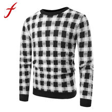 2018 New Fashion Harajuku Sweater Men Autumn Winter Pullovers Knitted Top Plaid Printed Striped Sweater Outwear C Please lothes(China)