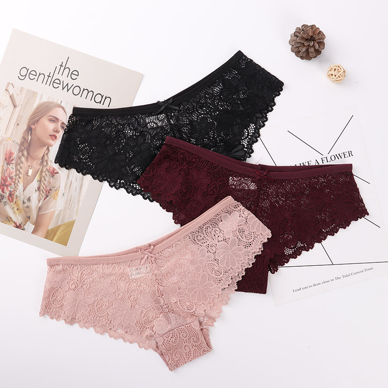 3 Pcs   Panties   For Woman Underwear Sexy Lace Breathable Female   Panty   Hollow Transparent Briefs Sexy Underwear Women M-2XL 2019