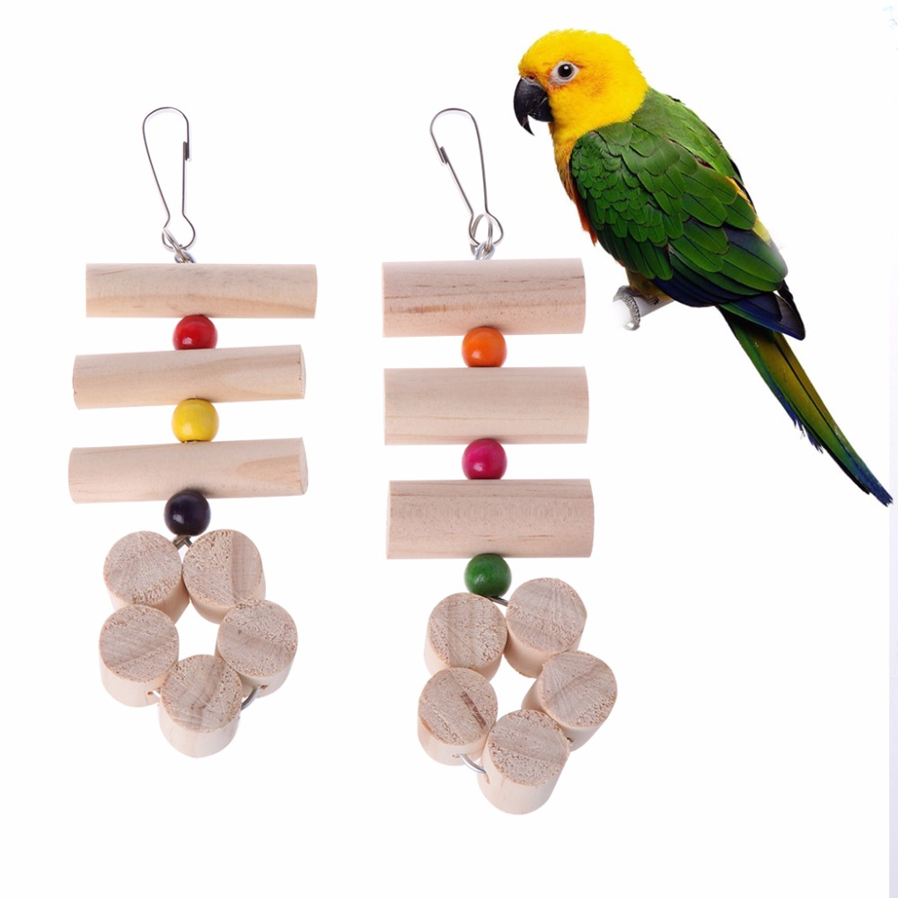 Pet Parrot Parakeet Birds Wood Beads Stand Perch Cage Swing Hang Ladder Chew Toy
