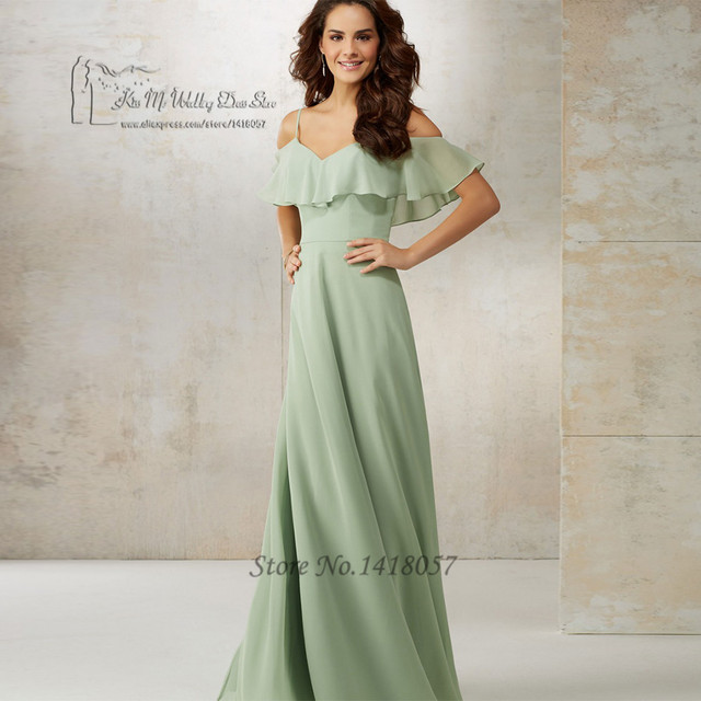 Us 77 6 20 Off Unique Navy Blue Mint Green Bridesmaid Dresses Long Chiffon Floor Length Wedding Guest Dress Spaghetti Straps Vestido Longo In