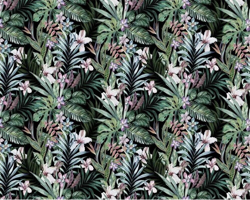 Купить с кэшбэком Beibehang Custom wallpaper hand drawn idyllic tropical rainforest leaves Southeast Asia style TV sofa background 3d wallpaper