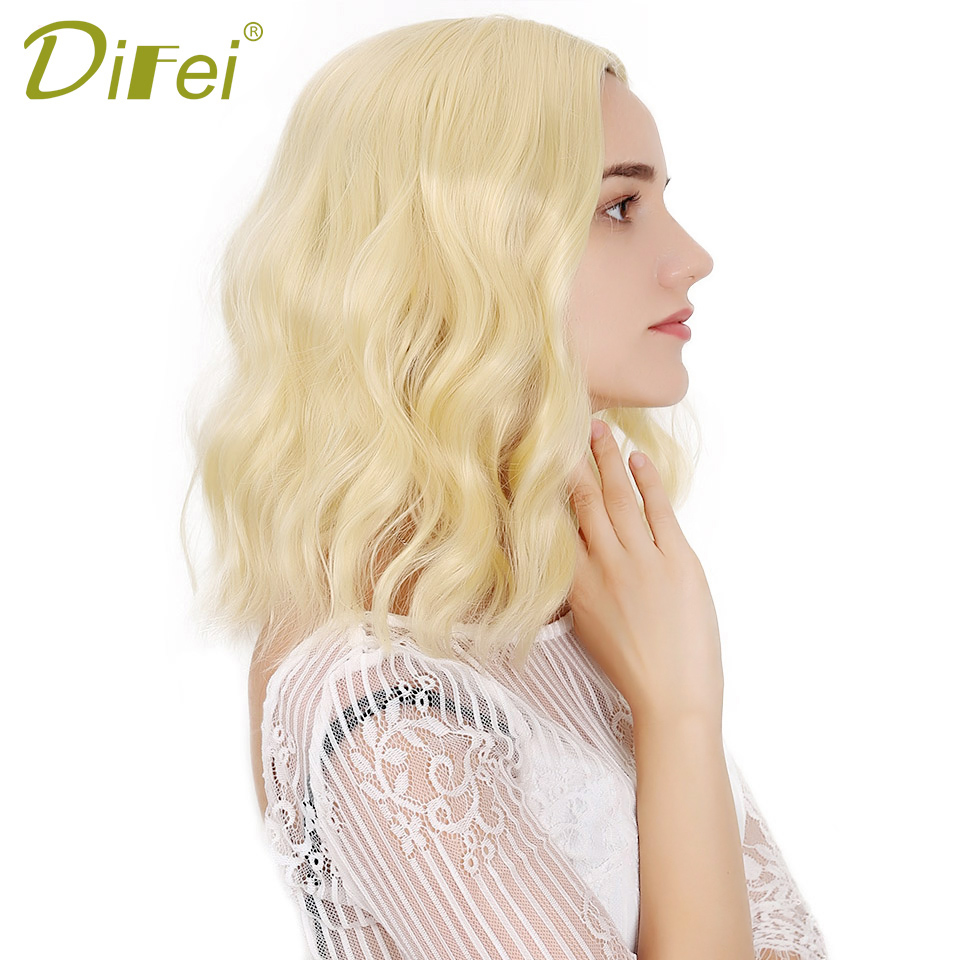 DIFEI Synthetic Short Wavy Wigs Heat Resistant Fiber Blonde Black Natural Hair Full Wigs Middle Part Curly Women's Wigs