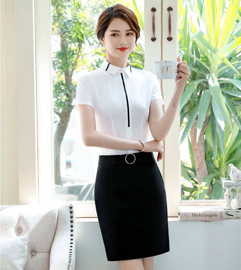 Formal 2 Piece With Tops And Skirt Summer Short Sleeve Elegant White Business Women Suits OL Styles Work Wear Sets