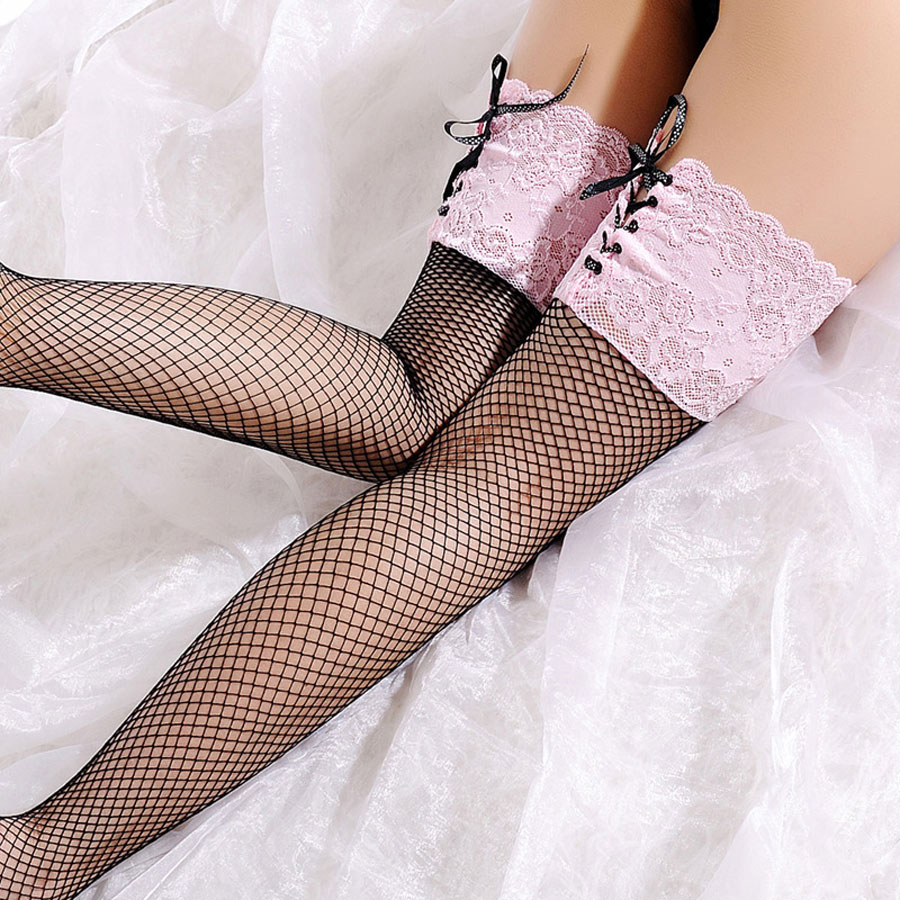 Pink Lace Fishnet Stockings Fashion Sexy Stocking For Women Over Knee Stockings Thigh High Stay Up Stockings Flower Sex Clothes