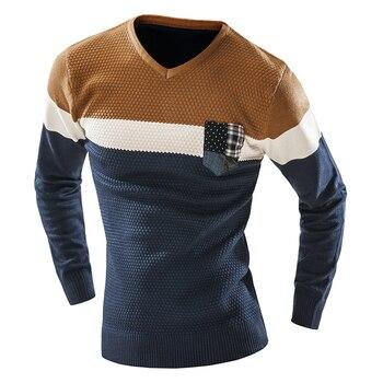 Big Man v-neck Splicing Sweater Stripes Splicing Pocket Joker long Sleeve Turtleneck Sweater Free Shipping
