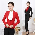 Formal Professional Office Uniform Designs Women Pantsuits Womens Busniess Suits with Pant and Blazer Sets Red