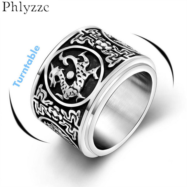 16mm big wide band spinner ring for men fashion chinese ancient four beasts guardian ethnic biker - Biker Wedding Rings