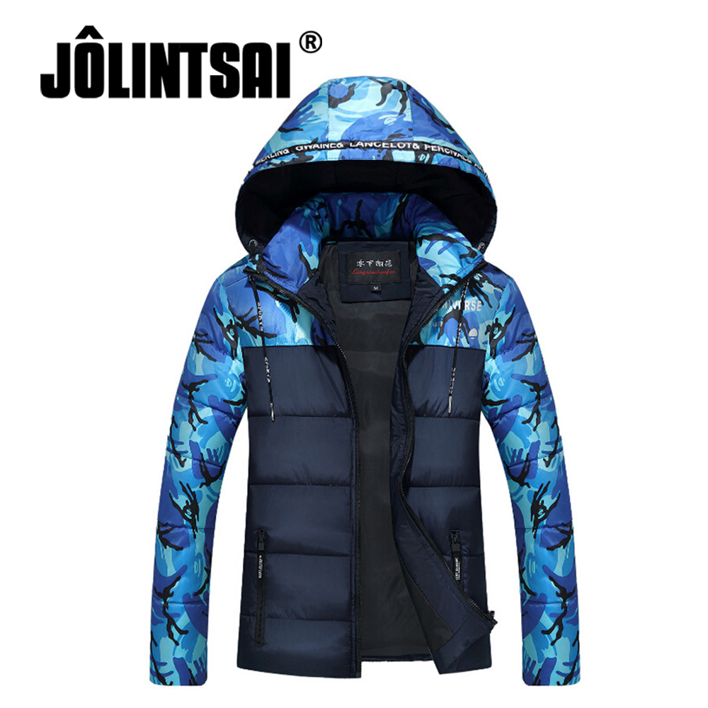 Winter Men Jacket 2017 Fashion Warm Parkas Camouflage Patchwork Mens Hooded Jackets Thicken Parka Men Outwear Plus Size M-4XL