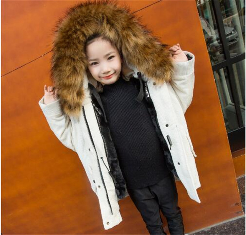 2017 New Faux Fur Coat Corduroy Winter Boy Girls Coat Thicken Children Cotton-Padded Clothes Europe Style Overcoat Kids Clothes women winter coat leisure big yards hooded fur collar jacket thick warm cotton parkas new style female students overcoat ok238