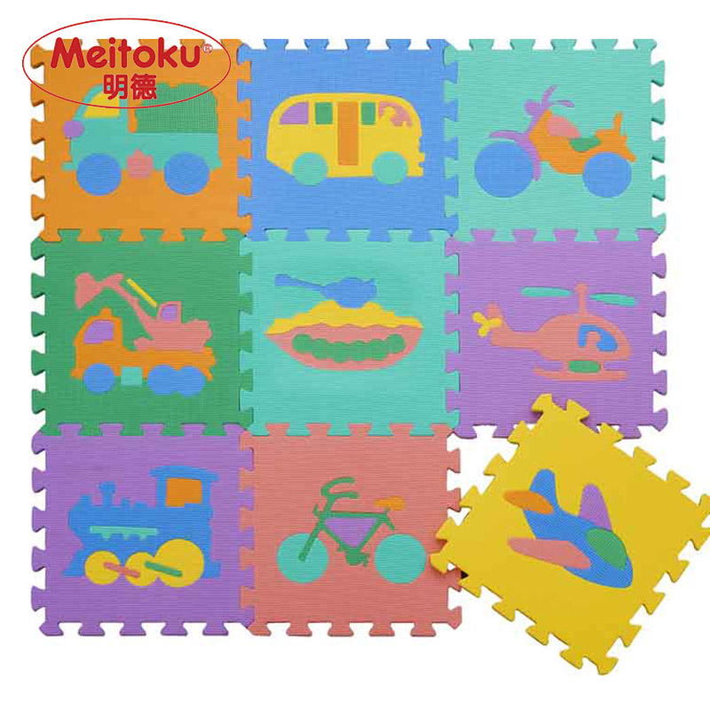 Meitoku baby EVA foam play Puzzle mat / Interlocking Transportation floor mat,Each 30cmX30cm=12