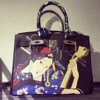2016Designer Fashion Cartoon Printed Black Japanese Art Female Graffiti Handbag Women Genuine Leather Gold Hardware Platinum Bag