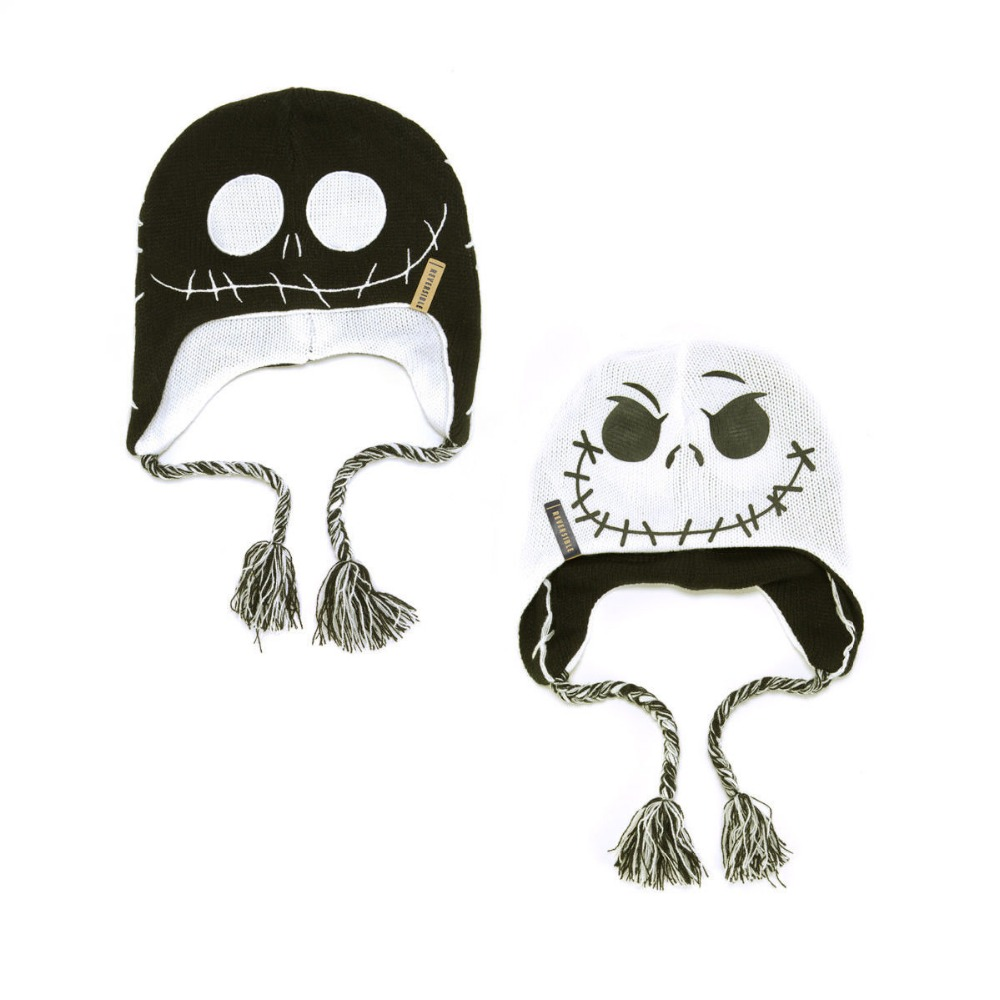 2016 New Nightmare Before Christmas Jack Skellington Reversible Double-sided Wear Laplander Beanie Hat