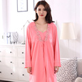 New Spring Autumn Cotton Women Dress Robes For Batas Para Mujer Pijama  Robe Sets Sexy Women Ladies Nightgown Sleepwear Plus 3XL