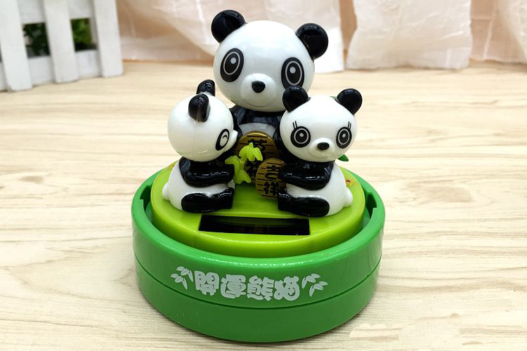 Solar Doll Swing Giant Panda Cute Shaking His Head Indretningsindretning Bil Ornaments Unisex Plastic Electronic Science