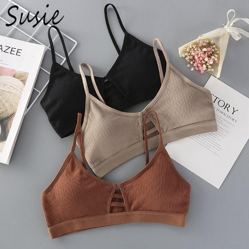Womens Sexy V-Neck Thread Ribbed Bralette Solid Color Hollow Strappy Underwear Training Bra Wire Free Padded Sport Yoga Crop Top