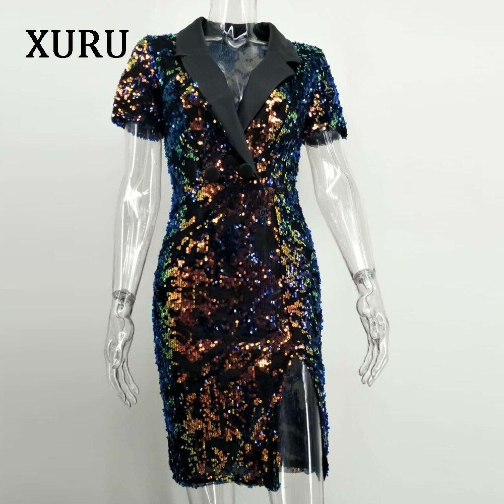 XURU New Short Sleeve Sequined Sexy Dress Female Elegant Elastic Symphony Black Sequin High Split Dresses Women Dress in Dresses from Women 39 s Clothing