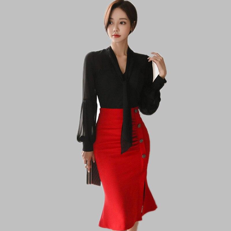 2 Pieces Suits Women 2019 Spring V-neck Lantern Sleeve Black Chiffon Shirt Top + Red Ol Pencil Skirt Office Set