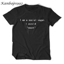 """I am a social vegan, I avoid """"meet"""" T-shirt"""