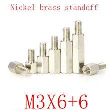 500 шт. m3x6 + 6 штекер-гнездо никелевая латунная Проставка M3 Шестигранная шпилька