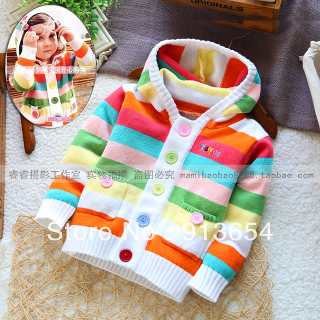 new 2013 Spring autumn baby clothing girls sweater rainbow striped cardigan girl's fashion hooded knitted sweater baby outerwear