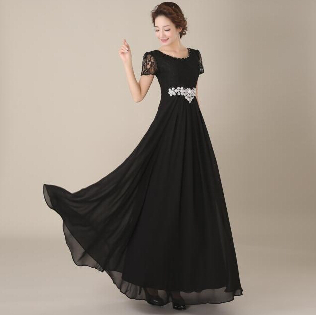 Popular Modest Black Dresses Chiffon Floor Length-Buy Cheap Modest ...